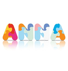 Anna written with alphabet puzzle vector