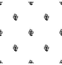 White and black flowers seamless background vector
