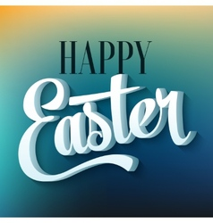 Happy easter typography on blur background vector