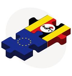 European Union and Uganda Flags vector image