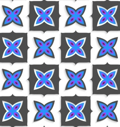 Geometrical ornament with gray squares and blue vector