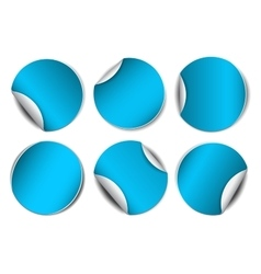 Set of blue round promotional stickers vector