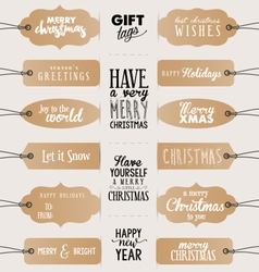 Calligraphic christmas vintage gift tags vector