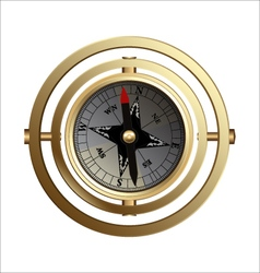 Antique copper compass for travelers vector