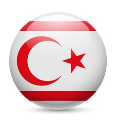 Round glossy icon of northern cyprus vector