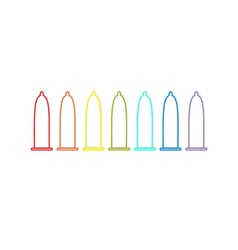 Condom rainbow line icon set protection white vector