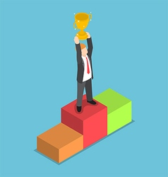 Isometric businessman holding trophy vector