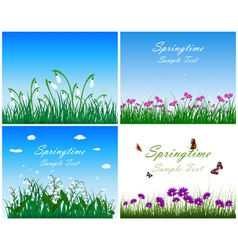 Springtime meadow set vector