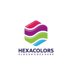 Hexagon colors logo vector