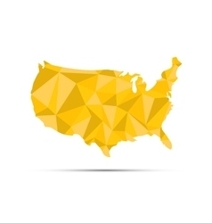 Usa triangulated map golden silhouette on white vector