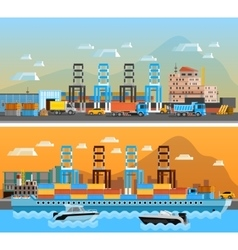 Two freight port horizontal banners vector