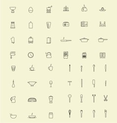 Outline kitchen set icon vector