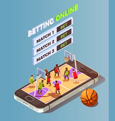 Basketball betting online concept vector