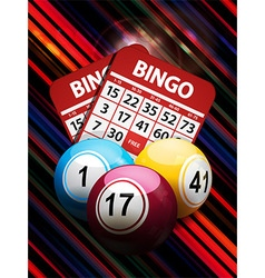 Bingo balls and cards on striped background vector
