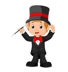 boy magician cartoon vector image vector image