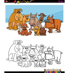 cartoon dogs coloring page vector image vector image