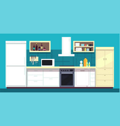 cartoon kitchen interior with fridge oven and vector image vector image