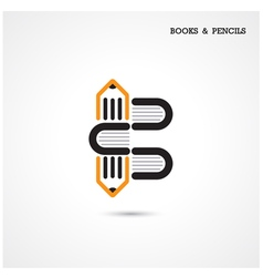 Creative pencil and book icon vector image