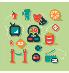 Flat cinema icons set vector