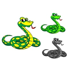 Funny cartoon python snake vector image vector image
