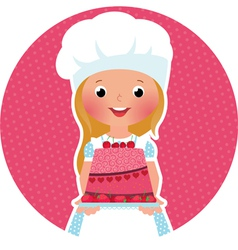 Girl with cake baker vector