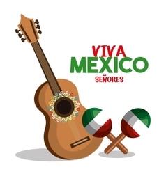 Guitat and maraca flag mexico design vector
