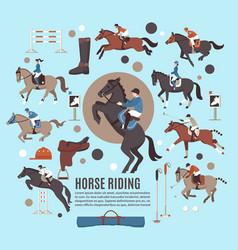 Horse riding flat composition vector