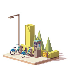 low poly bicycle sharing system vector image vector image