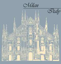 Milan cathedral in italy on blue background vector