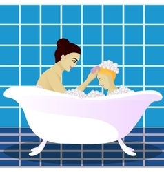 Mother washes with child vector image