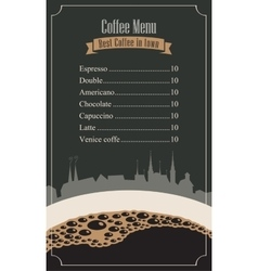 price menu for the cafe vector image