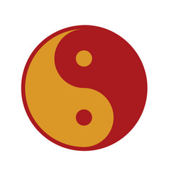 red gold yin and yang balance symbol graphic vector image