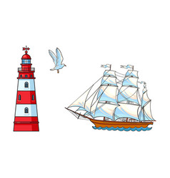 sailing ship lighthouse and seagull set vector image