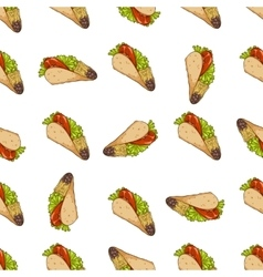 Seamless pattern color taco vector