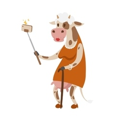 Selfie cow like old woman portrait vector