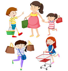 Shoppers with bags and cart vector