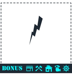 Thunder icon flat vector