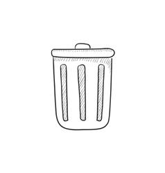 Trash can sketch icon vector image vector image