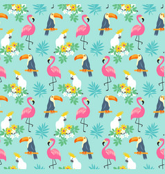 Tropical seamless pattern with exotic birds vector