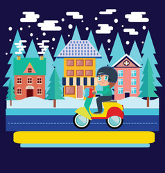 winter city landscape and boy riding scooter vector image