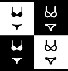 Women swimsuit sign black and white icons vector