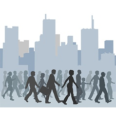 Crowd of people walking city skyline vector image