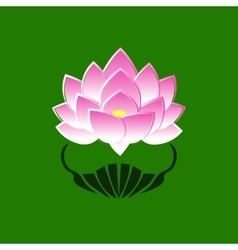 Pink stylized image of a lotus flower on a green vector