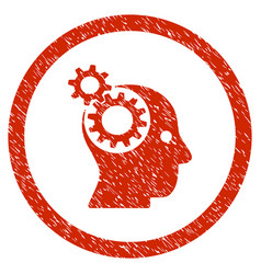 Intellect gears rounded grainy icon vector