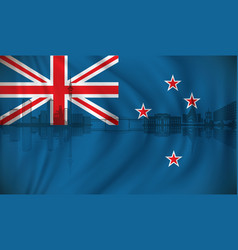 flag of new zealand with auckland skyline vector image