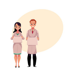 Male and female doctors in medical coat holding vector