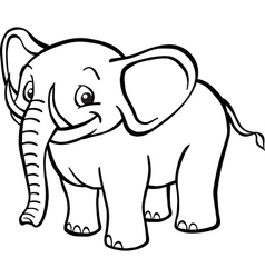 Black and white cartoon elephant vector