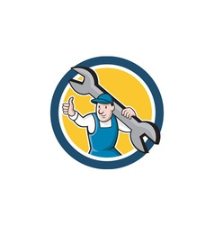 Mechanic thumbs up spanner circle cartoon vector