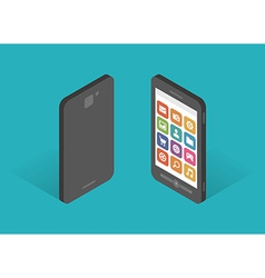 Flat design isometric mobile phone template vector