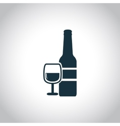 Wine bottle with glass icon vector
